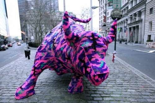 Crocheted Charging Bull