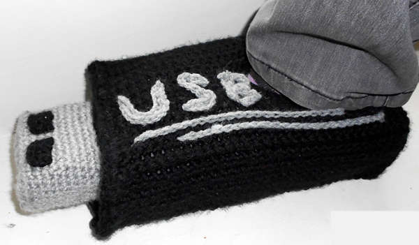 Creatively Crocheted USB Slippers