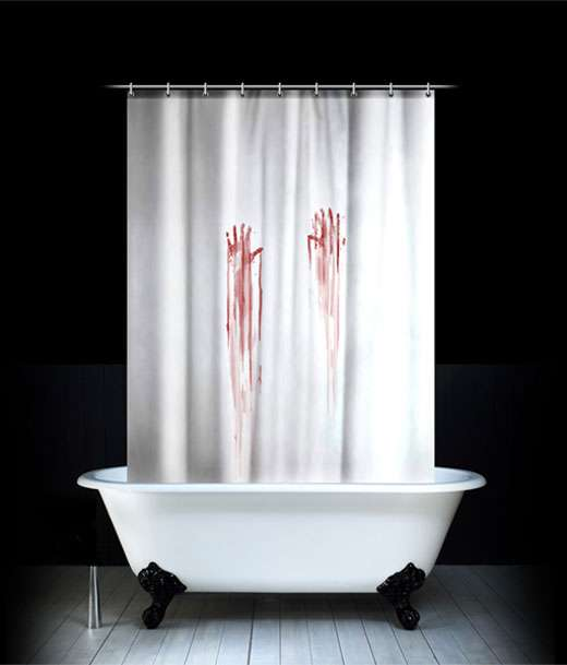 Bloody bathroom accessories these pieces turn your shower for Psycho shower curtain and bath mat