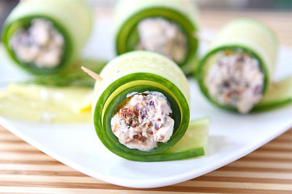 Sushi-Inspired Vegetarian Snacks : Cucumber Feta Rolls