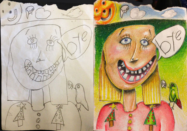 dad-colored kid drawings