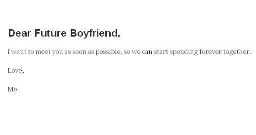 Dear Future Boyfriend Tumblr