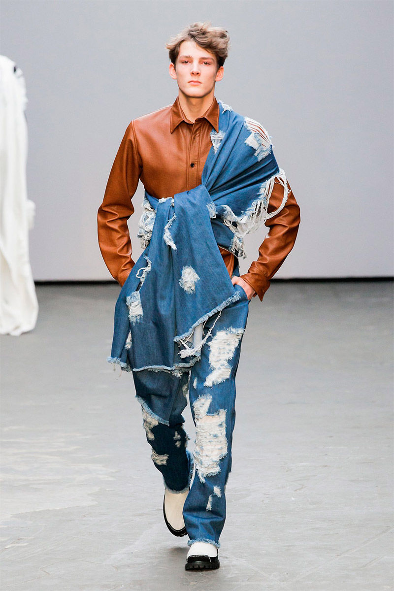 deconstructed collection denim menswear zhou xander fall winter deconstruction runways designer mens trendhunter innovations conceptual runway deconstructivism suit week latest