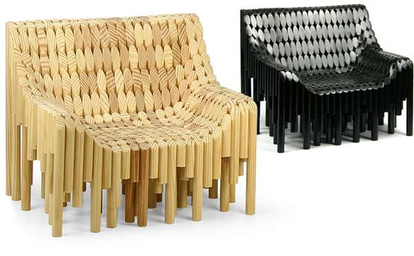 Pixelated Wooden Seats