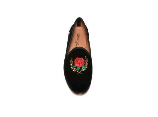 Embroidered Velvet Slippers