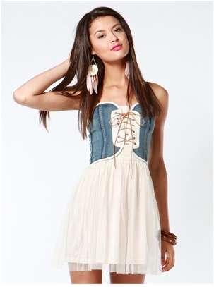 Denim bustier long dress