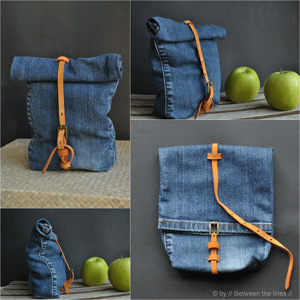 denim lunch bags
