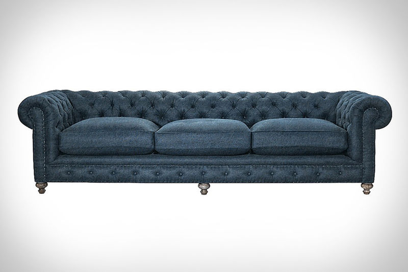 Feather filled denim sofas denim sofa Denim loveseat