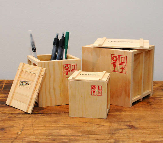 Crate Shaped Pen Holders