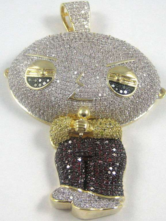 Family Guy Inspired Bling Diamond Encrusted Stewie Necklace