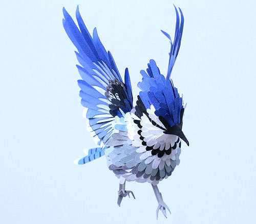 Hyper-Real Paper Bird Sculptures