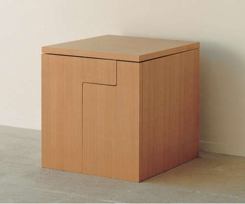 Space saving furniture dining table in a cube for Compact dining table