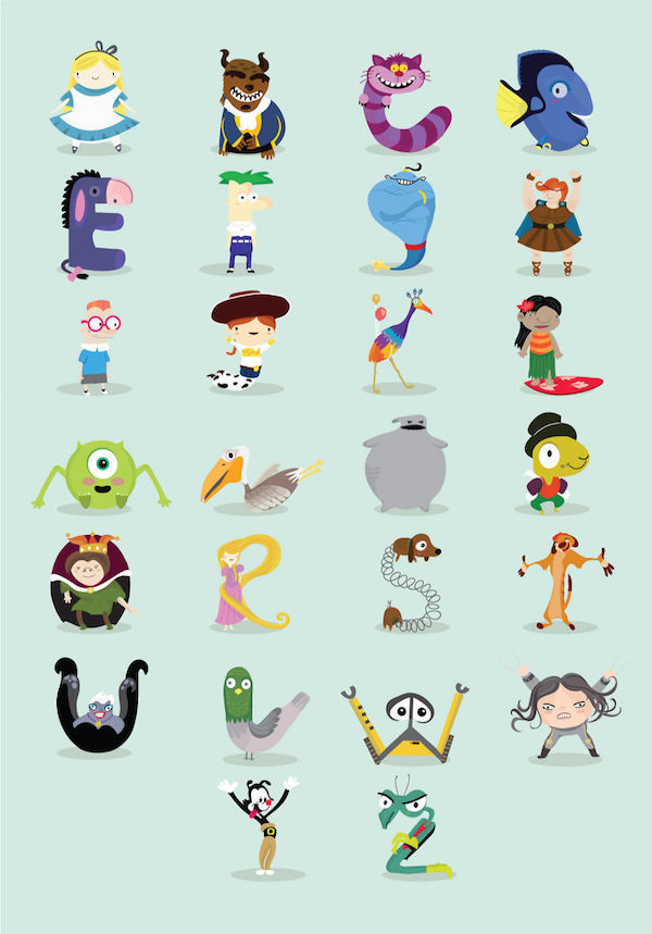Disney Alphabet Illustrations