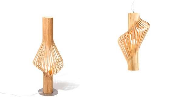 Elegant Wood Strip Lighting