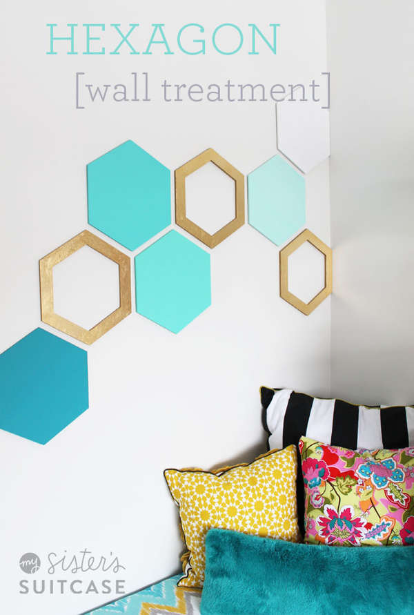 Diy geometric wall decals diy geometric wall art - Teenage wall art ideas ...