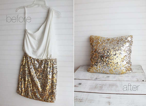 DIY Upcycled Sequin Cushions