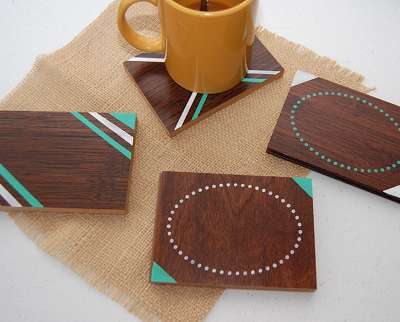 Diy geometric mug plates diy wooden coaster for Wooden crafts to sell