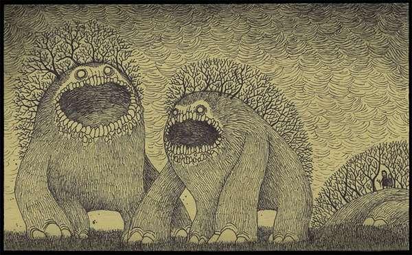 Intricate Post-It Illustrations