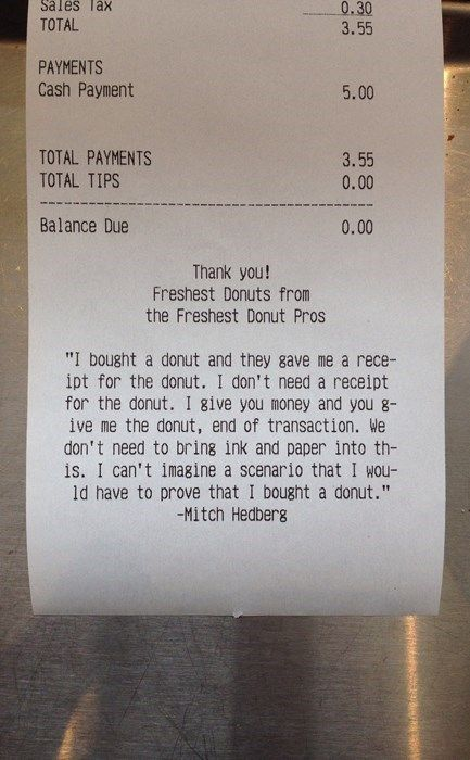 Enlightened Donut Receipts