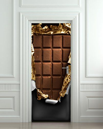 Chocolate door decals door decals for Door mural stickers