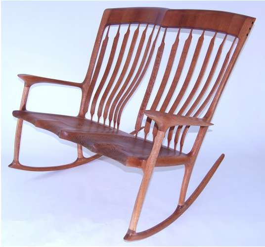 Oscillating Siamese Seats Double Rocking Chair By Paul