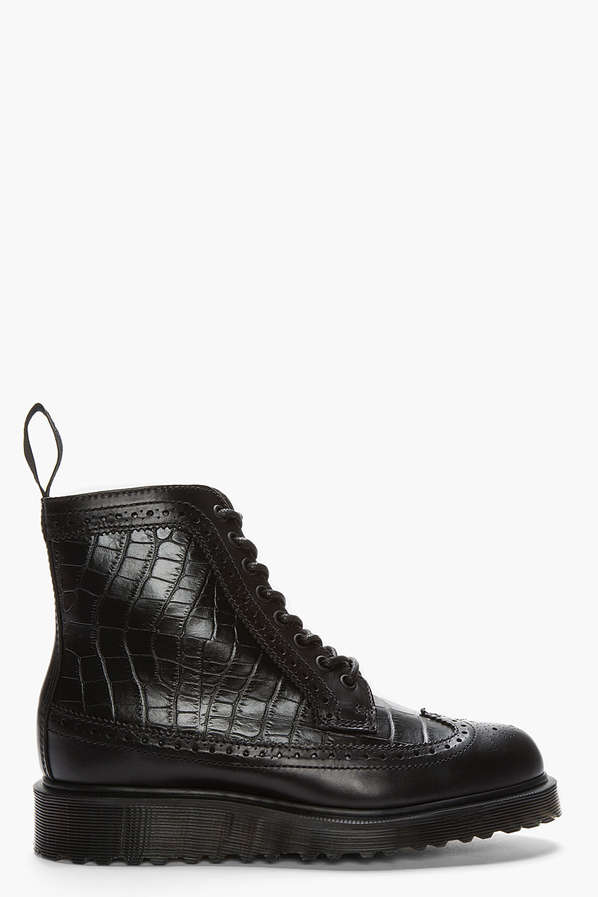 Dr. Martens Croc-Embossed Leather Brogue Boots