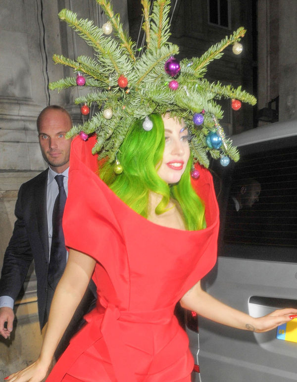 dressed as a christmas tree