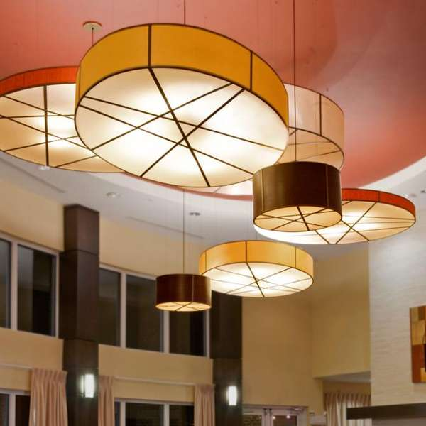 Tambourine Textile Lamps  Drum Shade Pendant Light