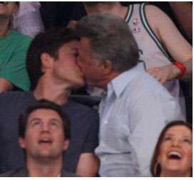 Dustin Hoffman and Jason Bateman Kiss Cam Pictures