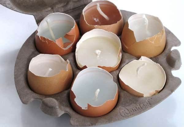 Salvaged Eggshell Votives