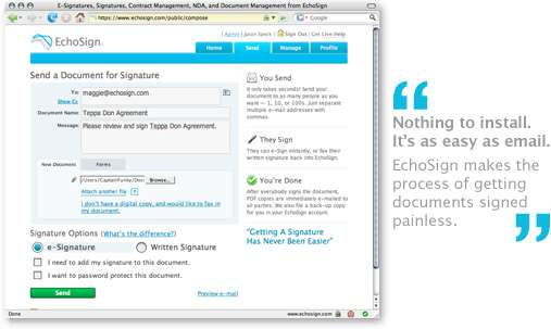 EchoSign electronic signatures