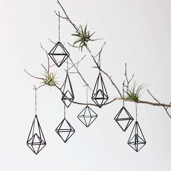 Geometric himmeli decorations eco friendly tree ornaments for Contemporary ornaments for the home