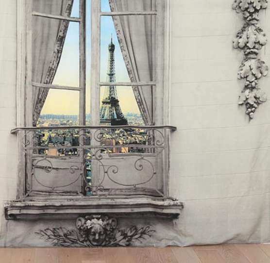 Fake French Fabric Vistas Eiffel Tower View