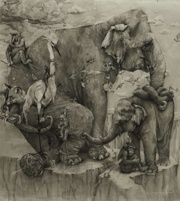 'Elephants' Mural by Adonna Khare