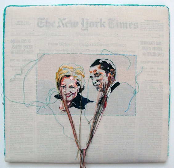 embroidered newspapers