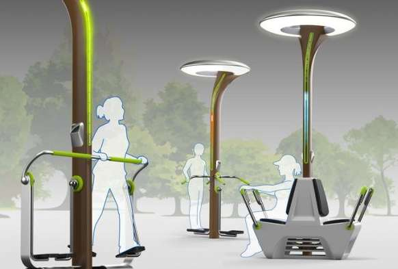 Fitness Powered Lampposts Energyme Streetlights
