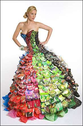 ballgown made from rubbish 