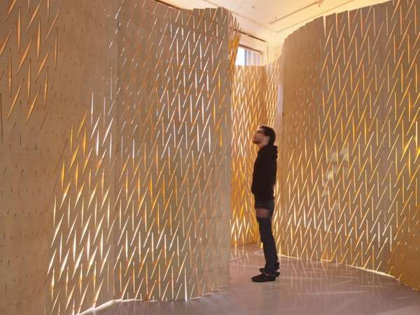 Slit Like Sculptural Partitions Expandable Surface Wall