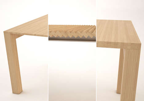 Clever accordion furniture extendable table for Table rectangulaire avec rallonge