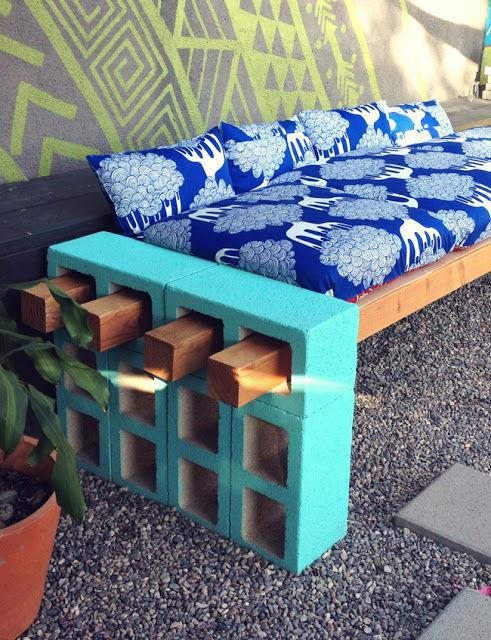 DIY Cement Block Benches