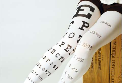 Eye Exam Chart Printed Tights