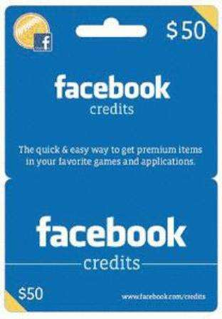 Facebook credit gift cards
