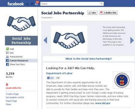 facebook social jobs partnership