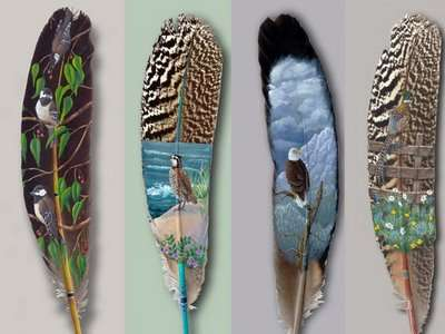 Intricate Feather Paintings
