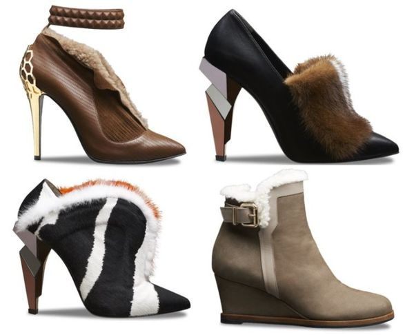 Asymmetrically Heeled Fur Booties