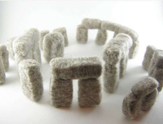 fiber art Stonehenge sculpture