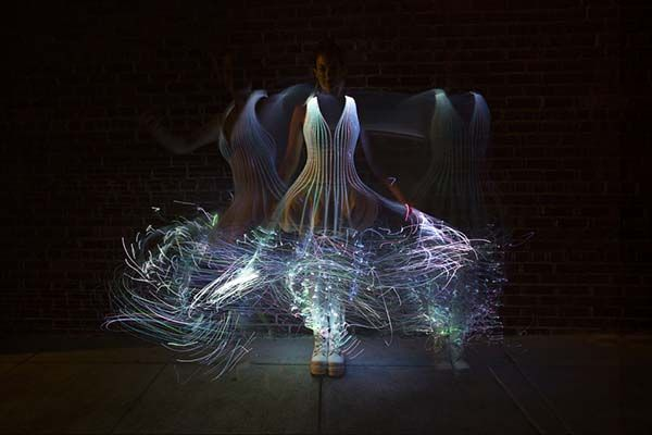 Glowing Fiber Optic Dresses