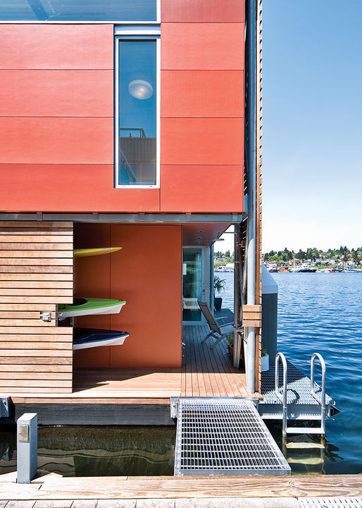 Prefab floating houses floating home in seattle for Prefabricated homes seattle