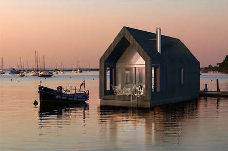 Barn-Shaped House Boats