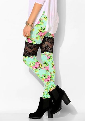 Two-Toned Floral Laced Tights